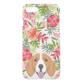 Beagle dog clear case hawaiian tropical florals