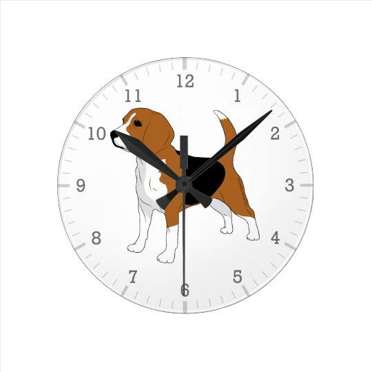 Beagle Dog Drawing Red Black White Round Clock