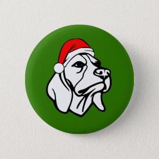 Beagle Dog with Christmas Santa Hat 2 Inch Round Button