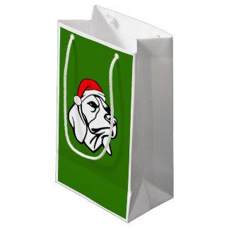 Beagle Dog with Christmas Santa Hat Small Gift Bag