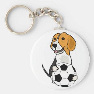Beagle drôle jouant au football porte-clé rond