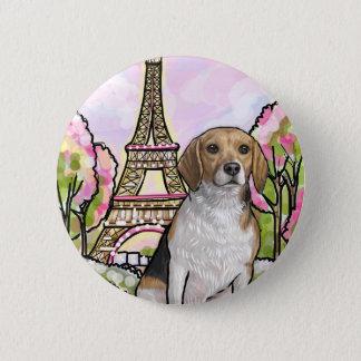 beagle eiffel tower paris 2 inch round button