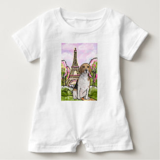 beagle eiffel tower paris baby romper