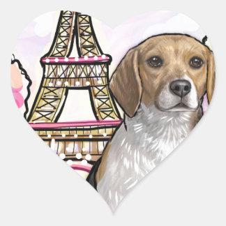 beagle eiffel tower paris heart sticker