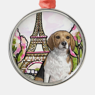 beagle eiffel tower paris metal ornament