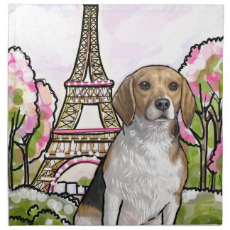 beagle eiffel tower paris napkin