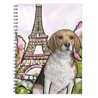 beagle eiffel tower paris notebook