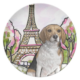 beagle eiffel tower paris plate