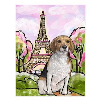 beagle eiffel tower paris postcard