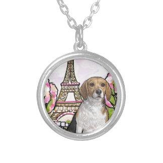 beagle eiffel tower paris silver plated necklace