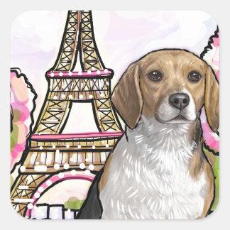 beagle eiffel tower paris square sticker