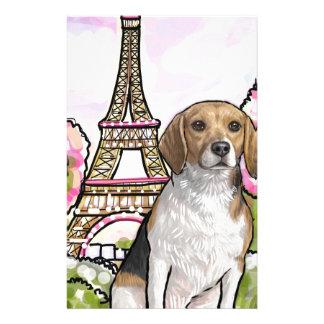 beagle eiffel tower paris stationery