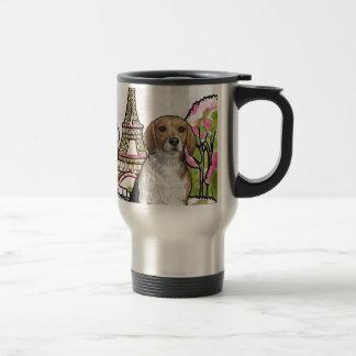 beagle eiffel tower paris travel mug