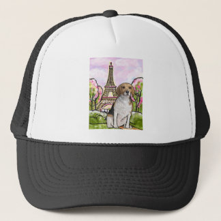 beagle eiffel tower paris trucker hat