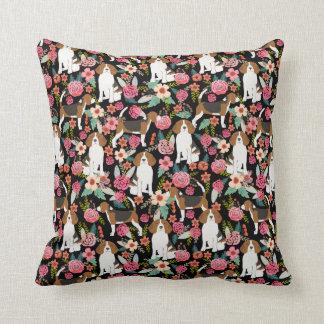 Beagle floral pillow cute beagles design