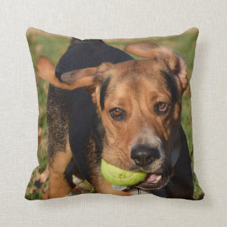 Beagle Flying Ears Houndie Face & Tennis Ball Throw Pillow
