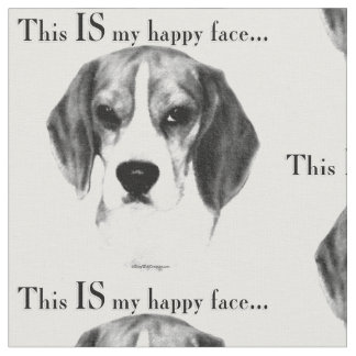 Beagle Happy Face Fabric