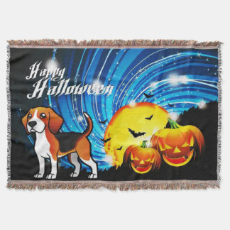 Beagle Happy Halloween Throw Blanket