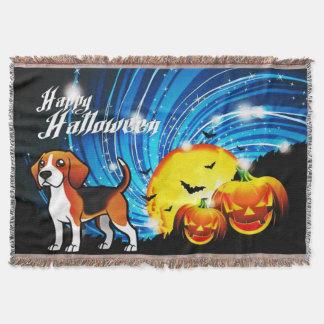 Beagle Happy Halloween Throw Blanket