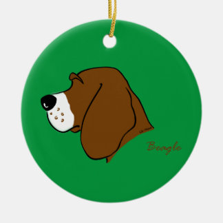 Beagle head silhouette round ceramic ornament
