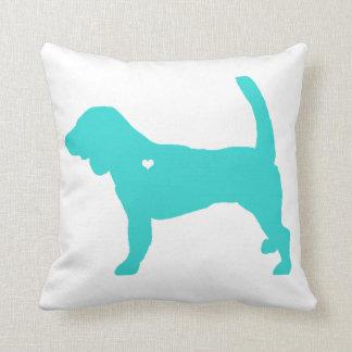 beagle heart silhouette colorful pop dog art throw pillow