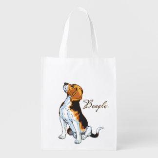 beagle hound reusable grocery bag