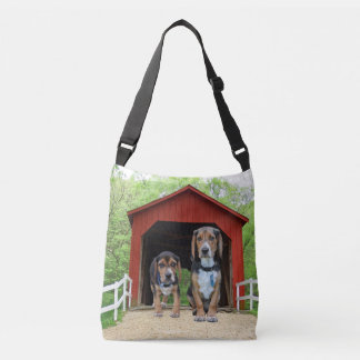 Beagle Hounds Rural Red Covered Bridge Crossbody Bag