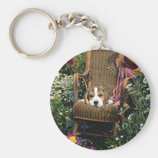 Beagle In Garden Chair Keychain