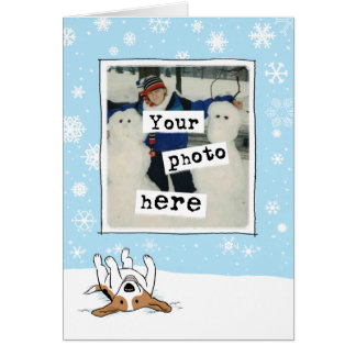 Beagle in the Snow Holiday Photo Template