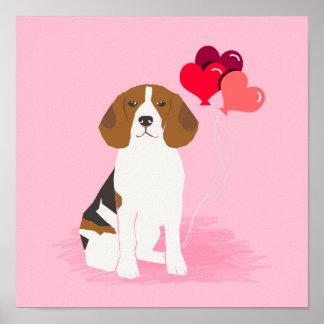 Beagle Love Balloons Art Print