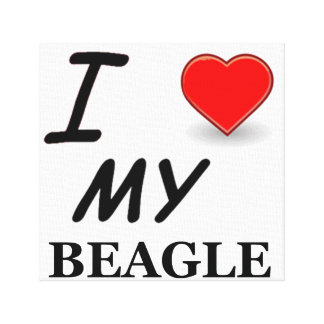 beagle love canvas print