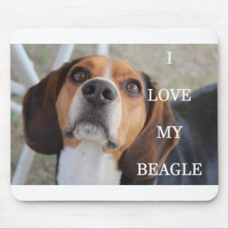 beagle love w pic black red white mouse pad