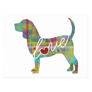 Beagle Love Watercolor Postcard