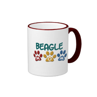 BEAGLE MOM Paw Print Ringer Mug