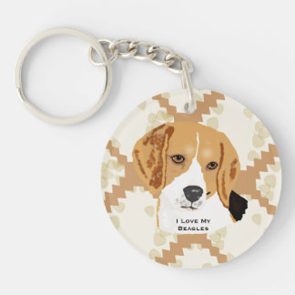 Beagle on Tan Leaves Double-Sided Round Acrylic Keychain