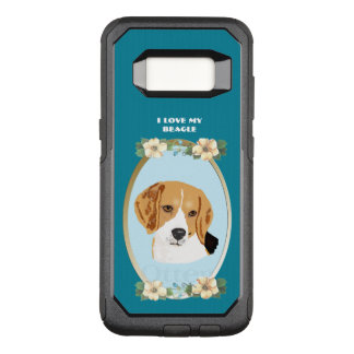 Beagle on Teal Floral OtterBox Commuter Samsung Galaxy S8 Case