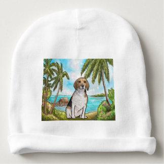 Beagle on Vacation Tropical Beach Baby Beanie