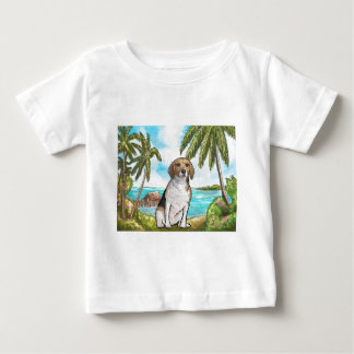 Beagle on Vacation Tropical Beach Baby T-Shirt
