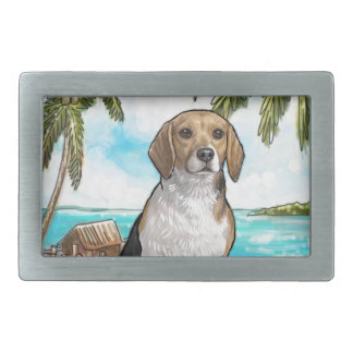 Beagle on Vacation Tropical Beach Belt Buckle