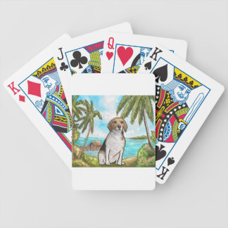 Beagle on Vacation Tropical Beach Bicycle Playing Cards