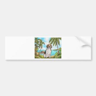 Beagle on Vacation Tropical Beach Bumper Sticker