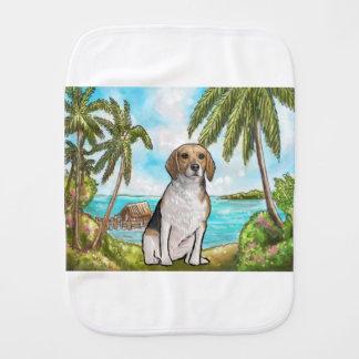 Beagle on Vacation Tropical Beach Burp Cloth