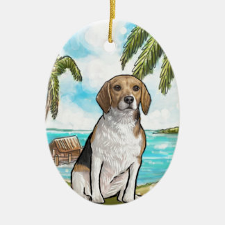 Beagle on Vacation Tropical Beach Ceramic Oval Ornament
