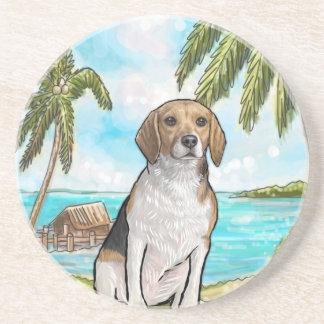 Beagle on Vacation Tropical Beach Coaster