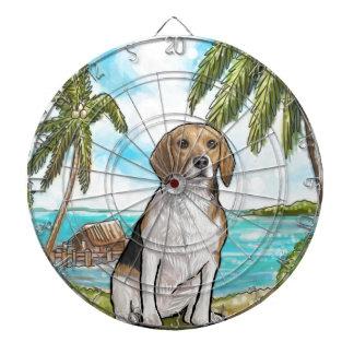 Beagle on Vacation Tropical Beach Dartboard