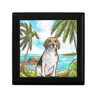 Beagle on Vacation Tropical Beach Gift Box