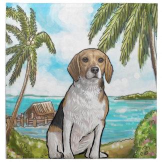 Beagle on Vacation Tropical Beach Napkin