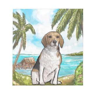 Beagle on Vacation Tropical Beach Notepads