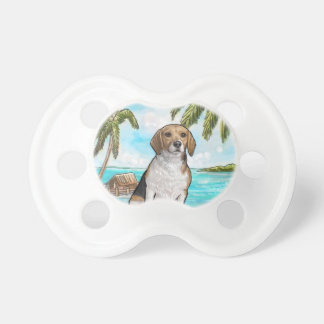 Beagle on Vacation Tropical Beach Pacifier