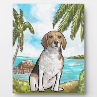 Beagle on Vacation Tropical Beach Plaque